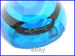 Murano Oball sommerso blue with black stripe fishtail art glass bud vase signed