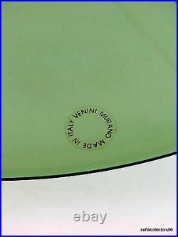 Murano Venini Tapio Wirkkala Green Charger Signed Dated with Original Label 1986
