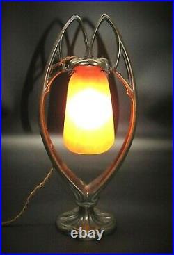 Nice French Art Nouveau Bronze DAUM NANCY Art Glass Desk Table Lamp 15 T Signed