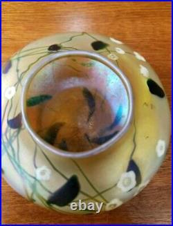 RARE Antique Steuben Aurene Gold Millefori Art Glass Vase Signed