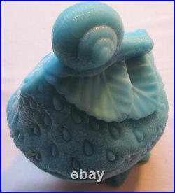 RARE French box blue milk glass, signed PORTIEUX Snail on a Strawberry 2/2