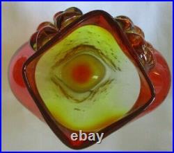 Rare Large 1958 Blenko Glass Wayne Husted Flame Orange Tangerine Owl Vase -as Is