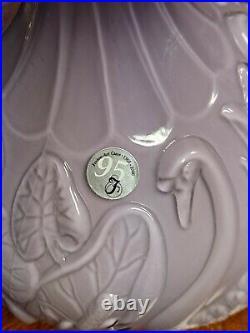 Rare Signed 95th Anniversary Lavender Fenton Swan Vase Made in 2000