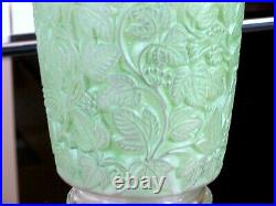 Rene Lalique 1941 Deauville Vase, Green Patina with Sculpted Vine. 6 Tall