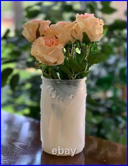 René Lalique Opalescent Blue Laurier Vase Gorgeous Signed R Lalique (Rene)