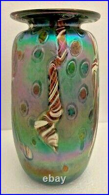 Rick Hunter Signed Hand Blown Glass Cane Swirl Extra Large Vase 8.75 inches Tall