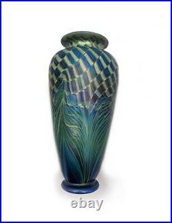 Rick Satava Spectacular Hand Blown Art Glass Vase Signed 9 aurene Iridescent