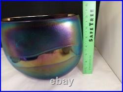 Robert Held Iridescent Studio Art Amethyst Iridescent Glass Vase Signed