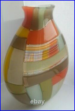 Robin MIX Studio Art Glass Signed Patchwork Vessel Rare