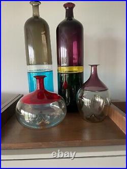 Set of 4 Venini Bolle Venini Vase Bottle Tapio Wirkkala signed