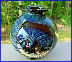 Signed 1981 Henry Summa Studio Art Glass Dichroic & Ribbon Footed Vase
