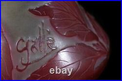 Signed Antique Emile GALLE Art Nouveau Cameo Art Glass Vase c. 1900 Cabinet Vase