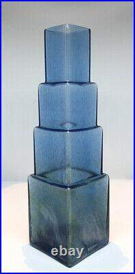 Signed BERTIL VALLIEN KOSTA BODA SWEDEN Glass Metropolis Skyscraper Vase, H12