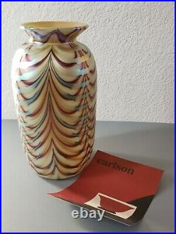 Signed Donald Carlson Pulled Feather Art Glass Vase