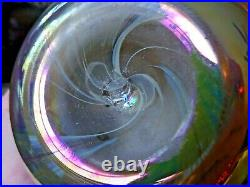 Signed Durand Iridescent Glass Pulled Feather VASE Aurene