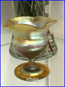 Signed L. C. Tiffany Favrile Gold Flower Form Vase