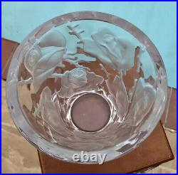 Signed LALIQUE Ispahan Rose Crystal Vase Mint Condition & STUNNING