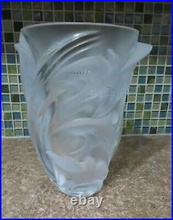 Signed Lalique Martinets Art Glass Frosted Crystal Vase Raised Birds 9.5 with Box