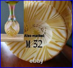 Signed Quezal M32 Tri-Colored Art Glass Vase Iridescent Pulled Feather Décor