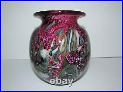 Signed Robert Eickholt 2010 Art Glass Vase 878
