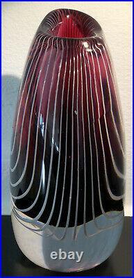 Signed Solid VICKE LINDSTRAND KOSTA BODA SWEDEN ZebraThickwall Glass Vase, H 6