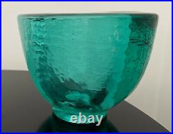 Signed Vintage Fire and Light Turquoise Wide Lip Bowl Vase Mint
