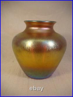 Steuben Aurene Multi Gold Art Glass Vase 2683 Signed 8 1/2 Iridescent Large