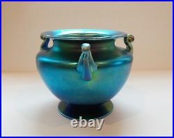 Steuben Blue AURENE Iridescent Art Glass Vase, Carder Era MINT