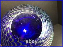 Steven Correia Art Glass Iridescent Blue King Tut Sphere Vase Signed 7.50 Tall