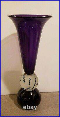 Steven Correia Studio Vase Large Purple etching Signed Art Glass