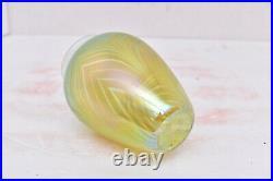 Studio Art Glass Iridescent Pulled Feather Luster signed Richardson Vase 5