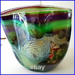 Stunning! 16 Tall Chris Hawthorne Art Glass Vase Rare Signed
