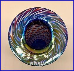 Stunning Glass Eye Studio Iridescent Pulled Feather Art Glass Vase Mt. St. Helens