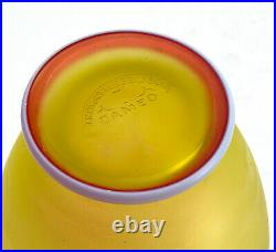 Thomas Webb & Sons Glass 3 Tone Cameo Vase White on Red on Yellow, Signed