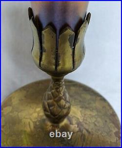 Tiffany Favrile / Studios Art Glass Vase In Bronze Base 17.5 Nouveau No Reserve