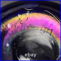 Tom Stoenner Luster Iridescent Art Glass Vase 1999 Signed 10.5 Tall