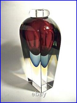 VINTAGE MURANO ART GLASS 7 5/8 OBALL VASE Sommerso VETRERIA ARTISTICA Onesto