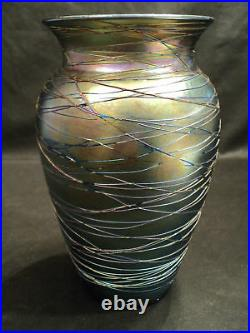 Victor DURAND Blue Iridescent Threaded Art Glass Vase