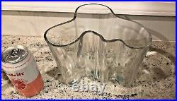 Vintage 3030 Iittala Alvar Aalto Vase Biomorphic Clear Finland Hand Signed
