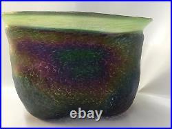 Vintage Bertil Vallien Boda Art Glass Iridescent Volcano Vase Signed C. 1970 Rare