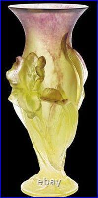 Vintage Daum France Crystal Iris Pate De Verré Signed Vase