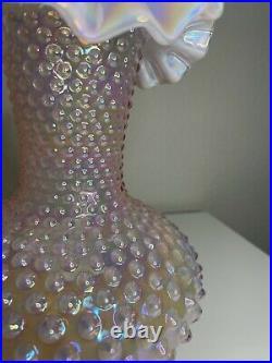 Vintage Fenton Glass Pink Opalescent Hobnail Large Ruffled Crimped Vase 10.5