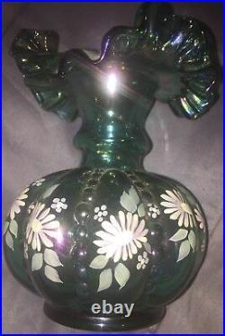 Vintage Fenton Green Carnival Glass Melon Vase Signed By Frank Fenton