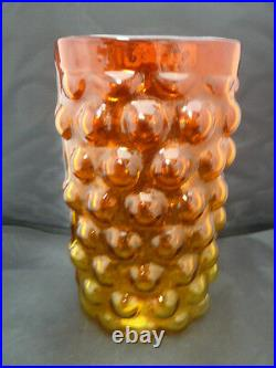 Vintage Mid-Century SIGNED Blenko free form edge Amberina Husted Bubble Vase
