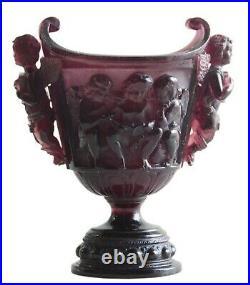 Vintage Vase Putti Figures Daum Nancy Art Nouveau Glass French Signed 1890s