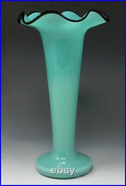 Vtg. Czech Glass Tango Vase AQUA BLUE BLACK LIP Czechoslovakia, kralik loetz era