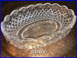 Waterford Crystal Glass Oval Fruit Bowl scalloped edge 10.5 signed twice