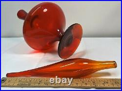 Wayne Husted Dark Tangerine Red Blenko Decanter, Mid Century Modern